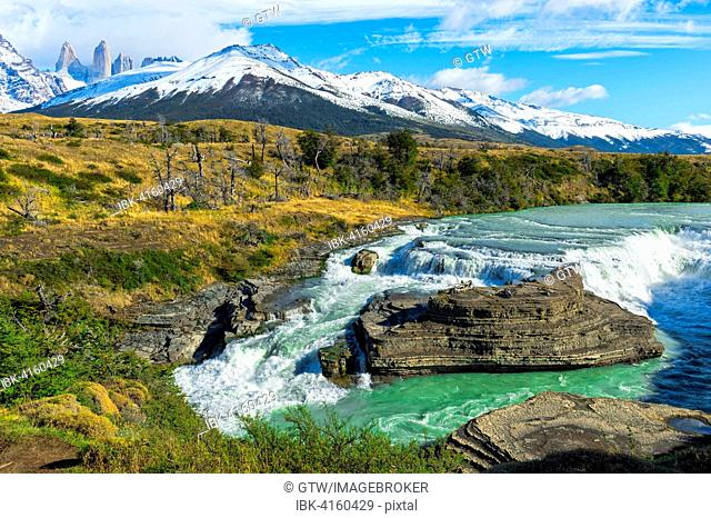 Cascade, Cuernos del Paine behind, Torres del Paine National Park, Chilean Patagonia, Chile