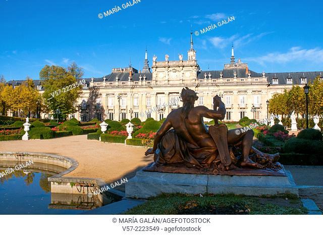 The Royal Palace viewed from Cascade fountain. La Granja de San Ildefonso, Segovia province, Castilla Leon, Spain