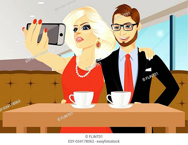 young couple taking selfie photo together with smartphone camera at a coffee shop