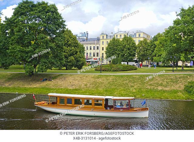 Sightseeing boat on canal, Bastejkalna parks, Riga, Latvia
