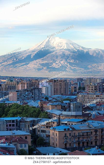 Mount Ararat and Yerevan viewed from Cascade at sunrise, Yerevan, Armenia, Middle East, Asia