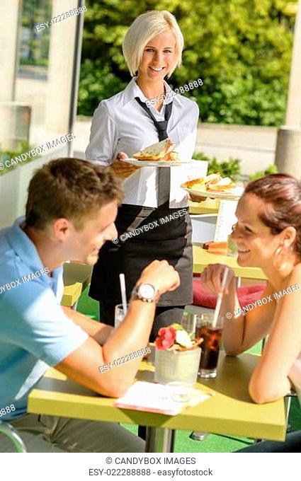 Couple waiting waitress sandwich lunch restaurant
