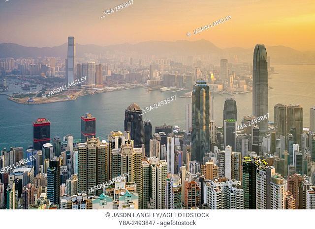 Skyscrapers in central Hong Kong seen from Victoria Peak at sunrise, Hong Kong Island, Hong Kong, China