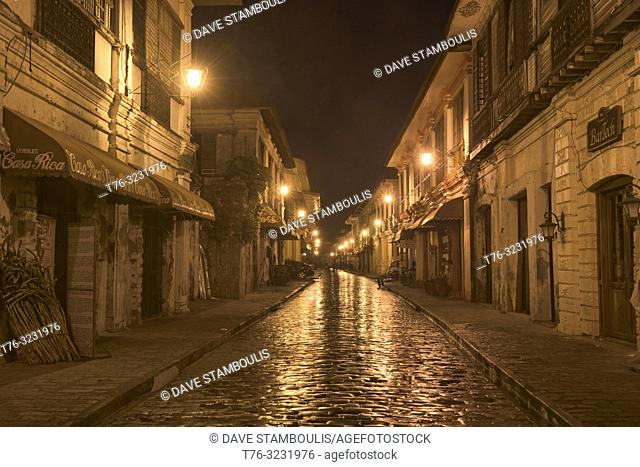 Atmospheric and cobblestoned Calle Crisologo in UNESCO World Heritage Vigan, Ilocos Sur, Philippines