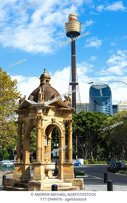 Sydney Centepoint Tower, Sydney seen from Hyde Park, New South Wales, Australia