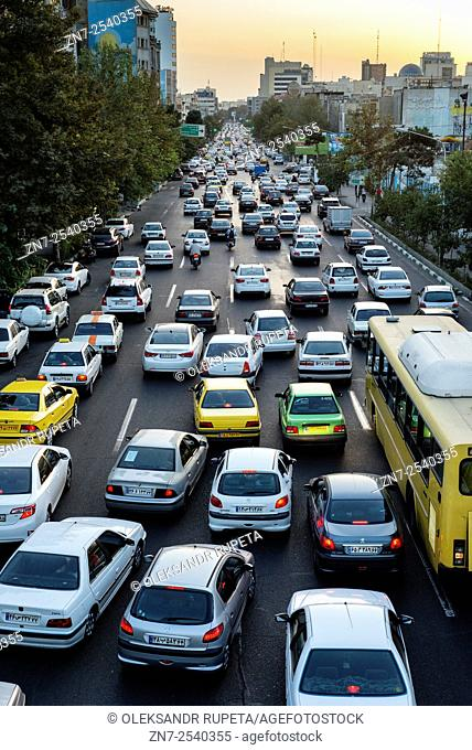 Evening traffic jam in Tehran one of the most polluted cities in the world according to World Health Organization