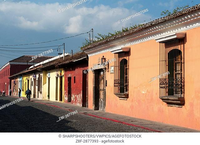 Colorful colonial buildings. Antigua Guatemala