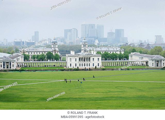 England, London, Greenwich Park with view to Queen's House. Docklands in the background