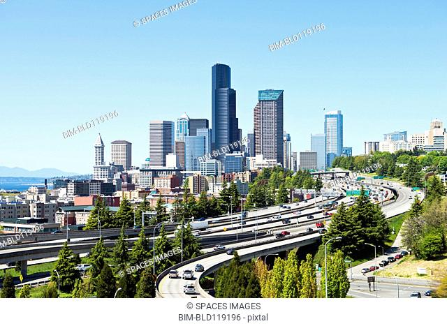 Freeways and Seattle skyline, Seattle, Washington, United States