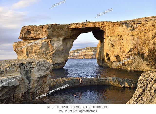 "Malta, Gozo island, Dwejra, Azure window. . The Azure window has been the setting of Daenerys and Khal Drogoâ. . s wedding in world famous """"Game of thrones"""""