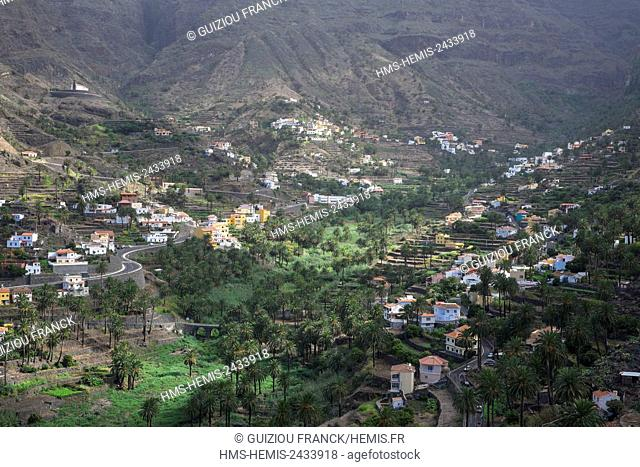 Spain, Canary Islands, La Gomera island declared a Biosphere Reserve by UNESCO, Barranco de Valle Gran Rey is a valley scattered with villages and full of palm...