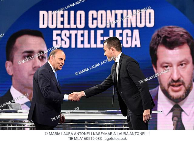 Journalist Bruno Vespa, Italian Minister of Labor and Industry and Deputy Prime Minister Luigi Di Maio during the tv show Porta a porta, Rome, ITALY-15-05-2019