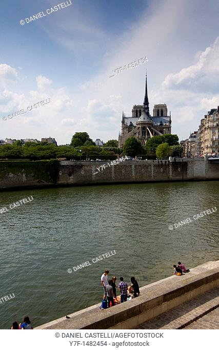 Notre Dame Cathedral in background,Paris, France