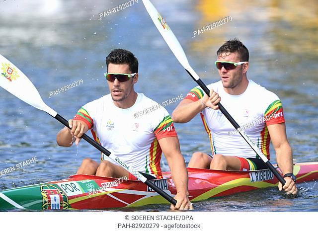 Emanuel Silva (L) and Joao Ribeiro of Portugal paddels after the Men's Kayak Double 1000m final of the Canoe Sprint events of the Rio 2016 Olympic Games at...