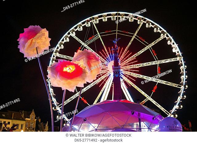 Belgium, Brussels, Place Ste-Catherine, Christmas Market, ferris wheel, evening