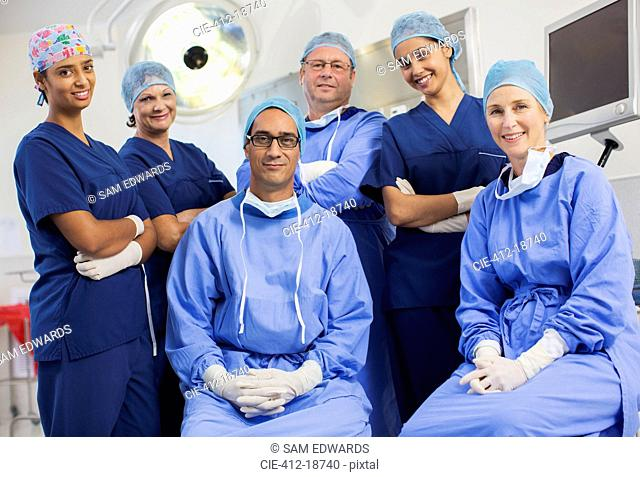 Group portrait of surgeons in hospital