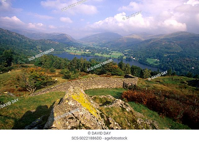 View of Grasmere from high up Lake District, England 2001