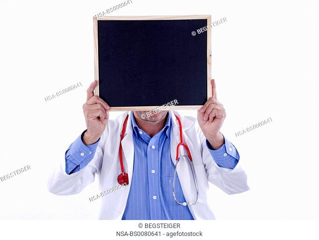 doctor with empty black board