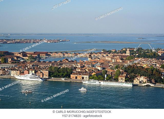 Aerial view of Arsenale of Venice, Castello neighborhood and Murano island in the background, Venice Lagoon, Italy, Europe