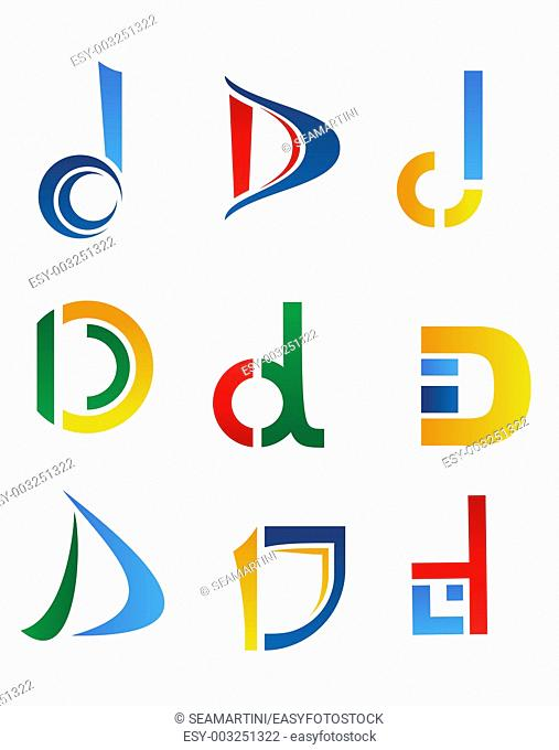 Set of alphabet symbols and elements of letter D