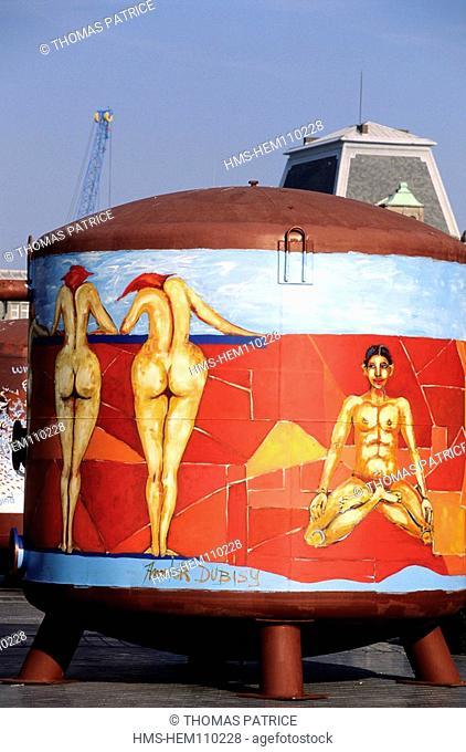 Belgium, Ostende sea resort, frescos on the port