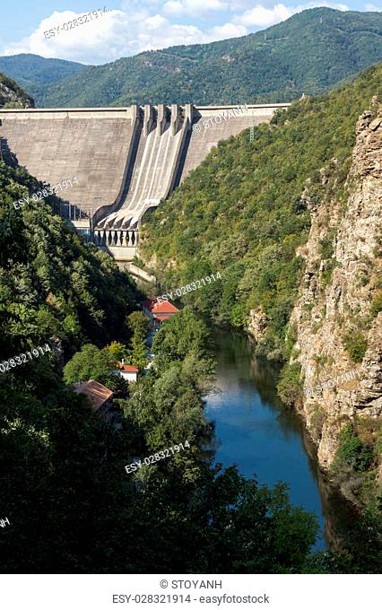 Panoramic view of Dam of the Vacha (Antonivanovtsy) Reservoir, Rhodopes Mountain, Bulgaria