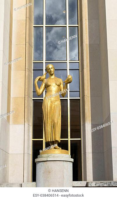 statue of a woman in front of the cite de l'architecture et du patrimoine in Paris. It is a museum of architecture located in the Palais de Chaillot at Place du...