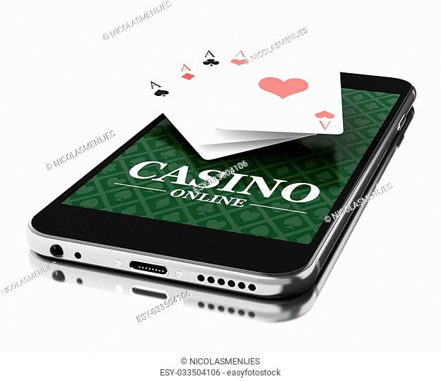 3d Illustration. Smartphone with poker cards. Online casino concept. Isolated white background