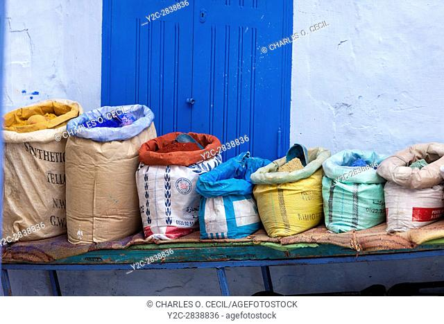 Chefchaouen, Morocco. Bags of Painter's Pigment