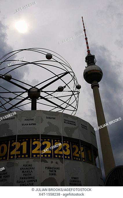 The Universal clock and Television tower  Alexanderplatz, Berlin