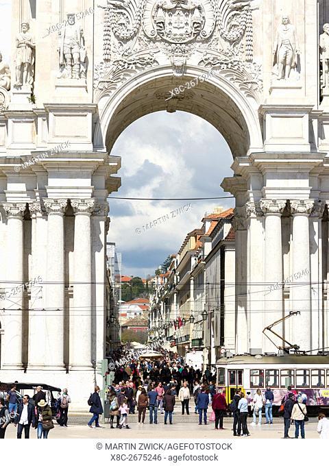Arco da Rua Augusta at the square Praca do Comerico. Lisbon (Lisboa) the capital of Portugal. Europe, Southern Europe, Portugal, March