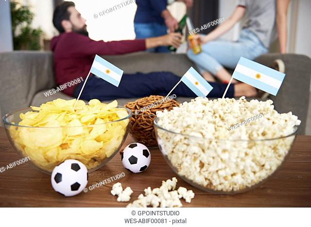 Close up of snacks for football fans