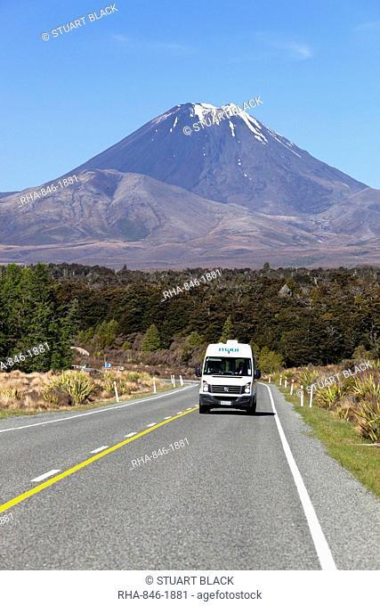 Motorhome below Mount Ngauruhoe, Tongariro National Park, UNESCO World Heritage Site, North Island, New Zealand, South Pacific