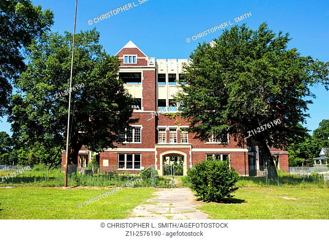 The abandoned and wrecked High School building in Hattiesburg Mississippi