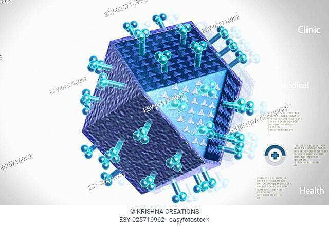 Digital illustration of HIV Virus in color background