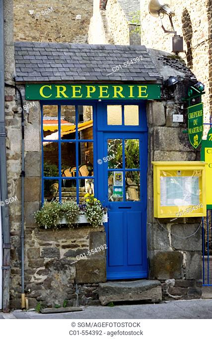 Pancake restaurant's entrance with a blue door. Dinan. Britanny. France