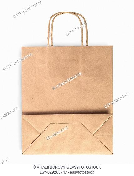 Blank folded brown paper bag for food isolated on white background