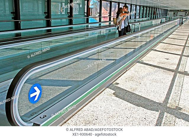 Corridor acces to the airport car park, Barcelona's airport, Catalonia, Spain