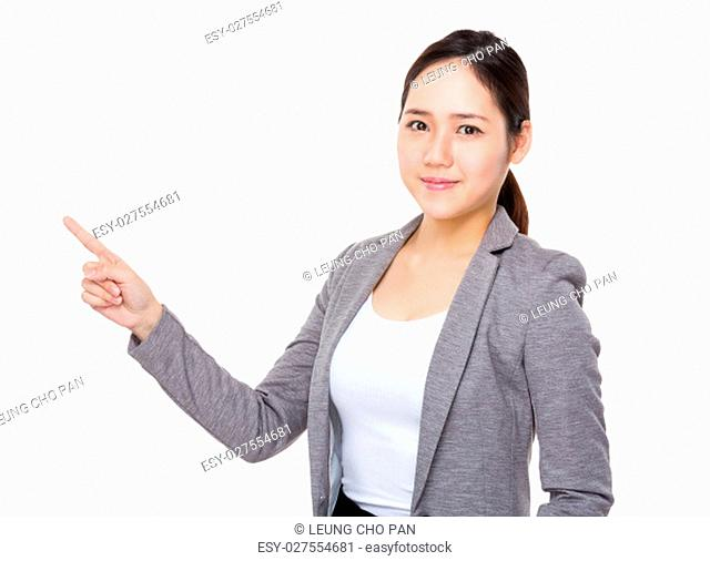 Asian young Businesswoman showing finger point up
