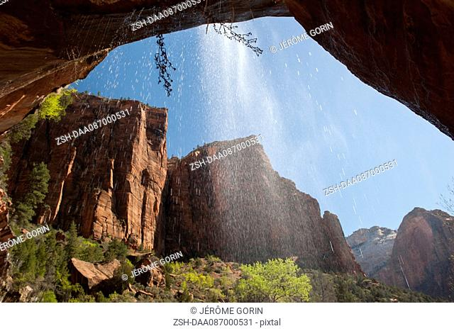 USA, Utah, Zion National Park, view from behind a waterfall