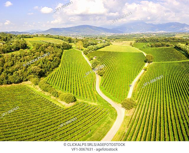 Franciacorta aerial view, Lombardy district, Brescia province, Italy