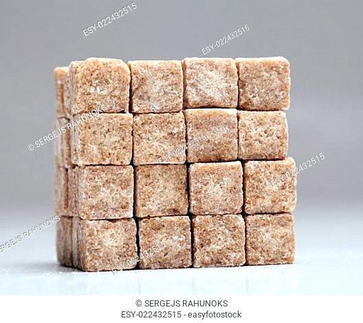Square of brown sugar cubes