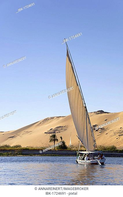 Felucca, a traditional wooden sailing boat, on the Nile, Egypt, Africa