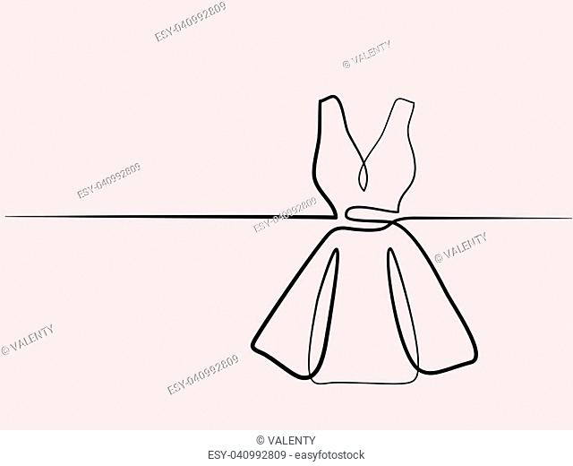 Silhouette holiday woman dress. Continuous line different width drawing. Vector illustration