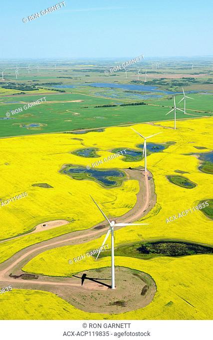 aerial, wind turbines Castor, Alberta