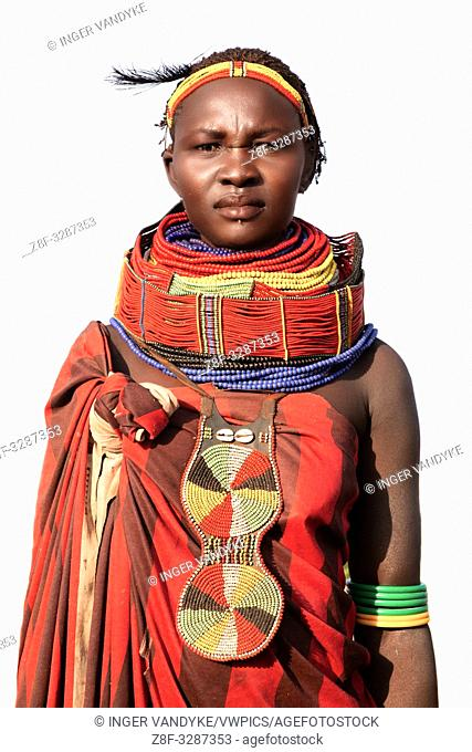 Portrait of a decorated Nyangatom woman near Kangate in southern Ethiopia