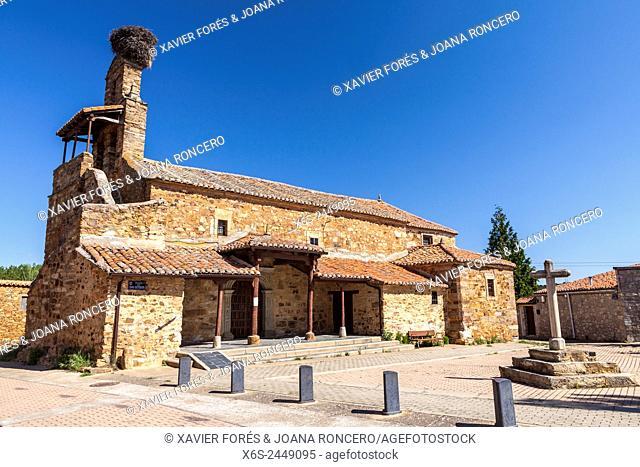 San Esteban church in Murias de Rechivaldo village, Way of St. James, Leon, Spain