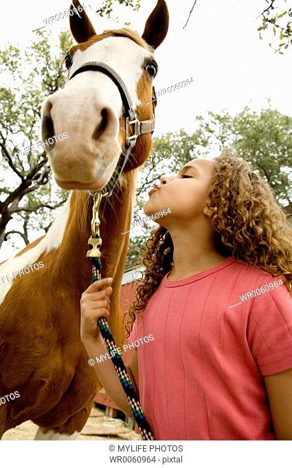 loving her horse