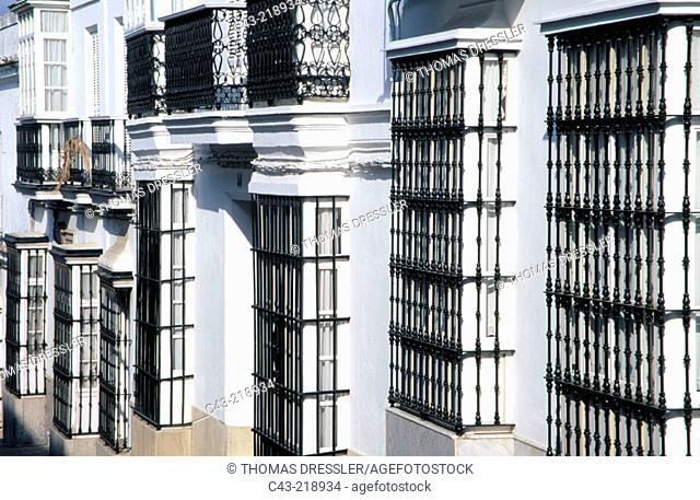 Rows of 'Reja' (black iron bars). Medina-Sidonia. Cádiz province. Andalusia. Spain