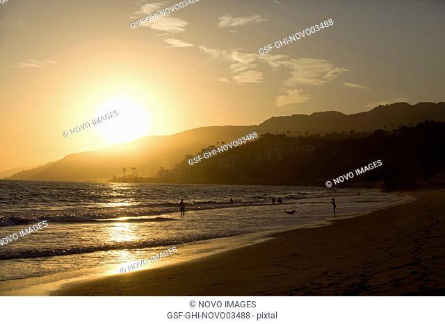 Ocean Beach at Sunset, Los Angeles, California, USA